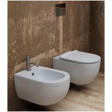 Potinkinio WC rėmo Geberit 4in1 ir pakabinamo klozeto Alice Ceramica Unica Rimless su plonu lėtaeigiu dangčiu komplektas 5