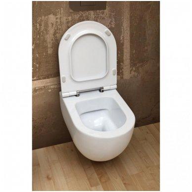 Potinkinio WC rėmo Geberit 4in1 ir pakabinamo klozeto Alice Ceramica Unica Rimless su plonu lėtaeigiu dangčiu komplektas 6