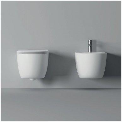 Potinkinio WC rėmo Geberit 4in1 ir pakabinamo klozeto Alice Ceramica Unica Rimless su plonu lėtaeigiu dangčiu komplektas 3