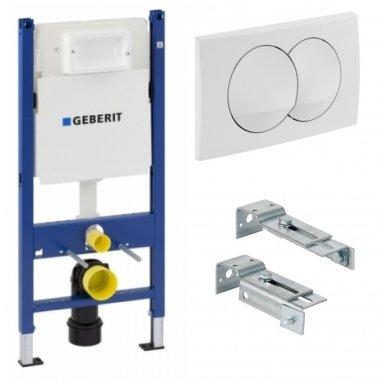 Potinkinio WC rėmo Geberit  komplektas su laikikliais ir baltu mygtuku
