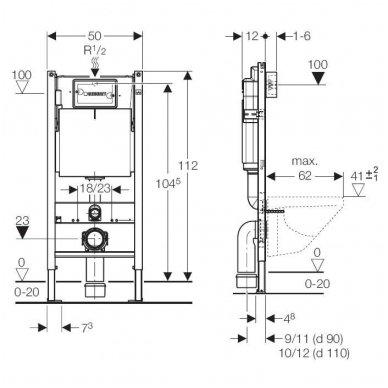 Potinkinio WC rėmo Geberit  komplektas su laikikliais ir baltu mygtuku 2