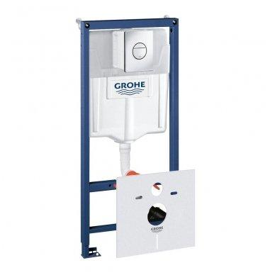 Potinkinio WC rėmo Grohe Rapid SL 4in1 ir pakabinamo klozeto Ravak Classic Rimoff su plonu lėtaeigiu dangčiu komplektas 3