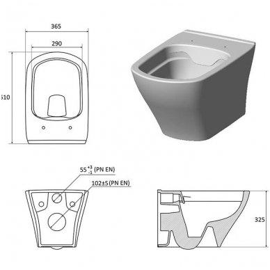 Potinkinio WC rėmo Grohe Rapid SL 4in1 ir pakabinamo klozeto Ravak Classic Rimoff su plonu lėtaeigiu dangčiu komplektas 6