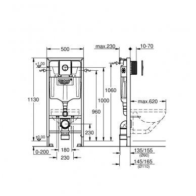 Potinkinio WC rėmo Grohe Rapid SL 4in1 ir pakabinamo klozeto Ravak Classic Rimoff su plonu lėtaeigiu dangčiu komplektas 7