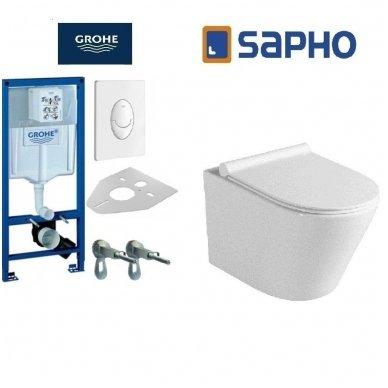 Potinkinio WC rėmo Grohe Rapid Sl 4in1 ir pakabinamo klozeto Sapho Paco su lėtaeigiu dangčiu komplektas