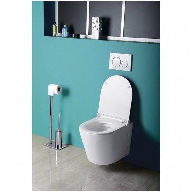 Potinkinio WC rėmo Grohe Rapid Sl 4in1 ir pakabinamo klozeto Sapho Paco su lėtaeigiu dangčiu komplektas 5