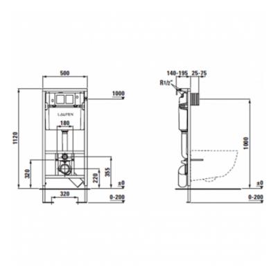 Potinkinio WC rėmo Laufen ir klozeto Ravak Uni Chrome RimOff  komplektas 8