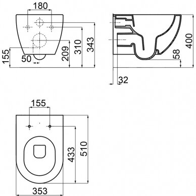 Potinkinio WC rėmo Laufen ir klozeto Ravak Uni Chrome RimOff  komplektas 9