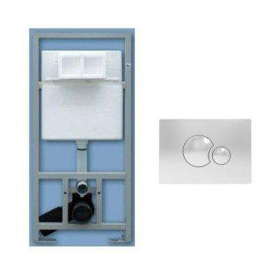 Potinkinio WC rėmo Sanit ir chromuoto vandens nuleidimo mygtuko komplektas