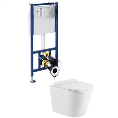 WC rėmo Sanit su chromuotu mygtuku ir pakabinamo klozeto Omnires Tampa su plonu lėtaeigiu dangčiu komplektas