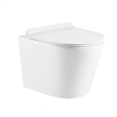 WC rėmo Sanit su chromuotu mygtuku ir pakabinamo klozeto Omnires Tampa su plonu lėtaeigiu dangčiu komplektas 2