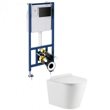 WC rėmo Sanit su juodu mygtuku ir pakabinamo klozeto Omnires Tampa su plonu lėtaeigiu dangčiu komplektas