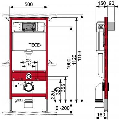 Potinkinio WC rėmo Tece ir klozeto Duravit ME by Starck Compact Rimless komplektas 10