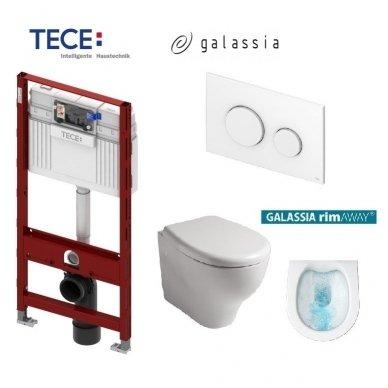 Potinkinio WC rėmo Tece ir klozeto Galassia Eden Rimless komplektas