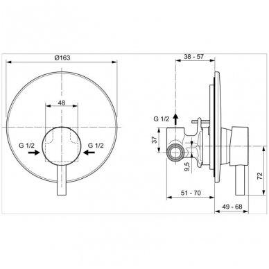 Potinkinis dušo maišytuvas Ideal Standard Ceraline 2
