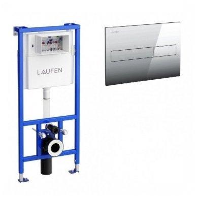 Potinkinis klozeto rėmas su chromuotu vandens nuleidimo klavišu Laufen 2in1