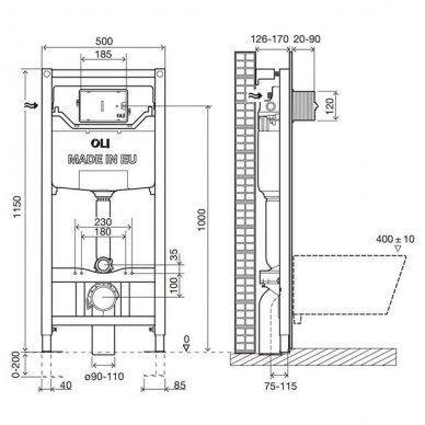 Potinkinis rėmas OLI 120 su klozeto dezinfekavimo rinkiniu OLIPURE bei mygtuku GLAM (spalvų pasirinkimas) 4