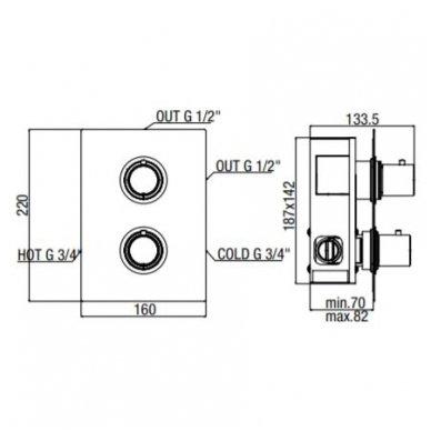Potinkinis termostatinis dušo maišytuvas Alpi Blue 4