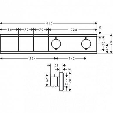 Potinkinis termostatinis 2-jų funkcijų dušo maišytuvas Hansgrohe RainSelect (spalvų pasirinkimas) 2