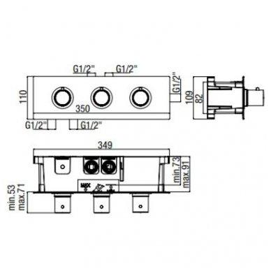 Potinkinis termostatinis trijų taškų vonios/dušo maišytuvas Alpi Blue 2