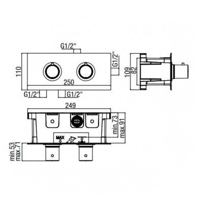 Potinkinis termostatinis vonios/dušo maišytuvas Alpi Blue 2