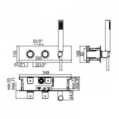 Potinkinis termostatinis vonios/dušo maišytuvas su rankiniu dušu Alpi Blue 5
