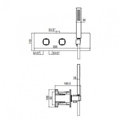 Potinkinis termostatinis vonios/dušo maišytuvas su rankiniu dušu Alpi Naboo 2