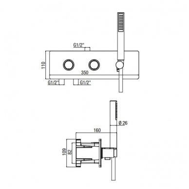 Potinkinis termostatinis vonios/dušo maišytuvas su rankiniu dušu Alpi Nu 3