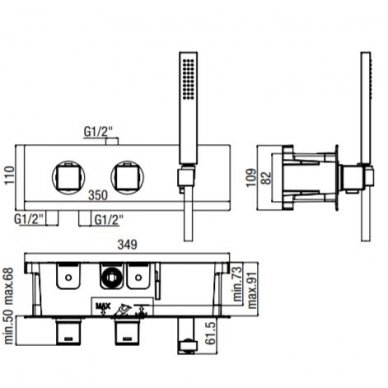 Potinkinis termostatinis vonios/dušo maišytuvas su rankiniu dušu Alpi Una18 2
