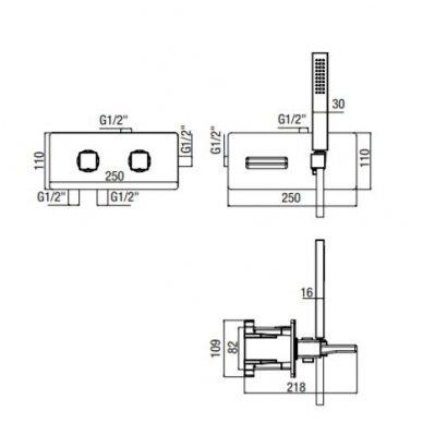 Potinkinis termostatinis vonios/dušo maišytuvas su rankiniu dušu ir snapu Alpi Naboo 2