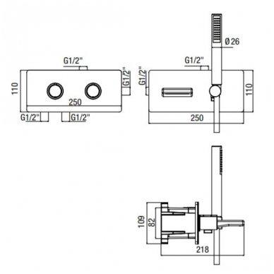 Potinkinis termostatinis vonios/dušo maišytuvas su rankiniu dušu ir snapu Alpi Nu 2