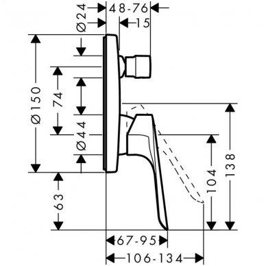 Potinkinis vonios/dušo maišytuvas Hansgrohe Logis E 2