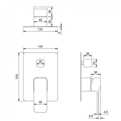 Potinkinis vonios/dušo maišytuvas Omnires Slide 2