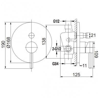 Potinkinis vonios/dušo maišytuvas Omnires SYS YW01 ZL (aukso spalvos) 3