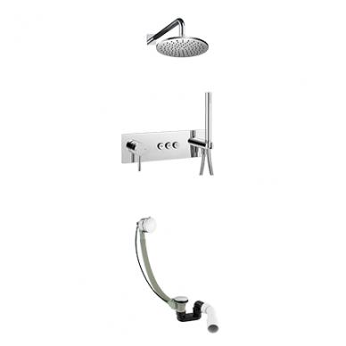 Potinkinis vonios/dušo maišytuvas su stacionaria dušo galva ir vonią pripildančiu sifonu