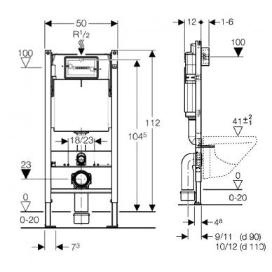 Potinkinis WC montavimo elementas Geberit Duofix Basic 2