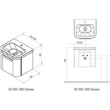 Praustuvo spintelė Ravak SD Chrome 550/650 8