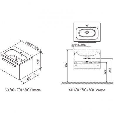 Praustuvo spintelė Ravak SD Chrome 600/700/800 4