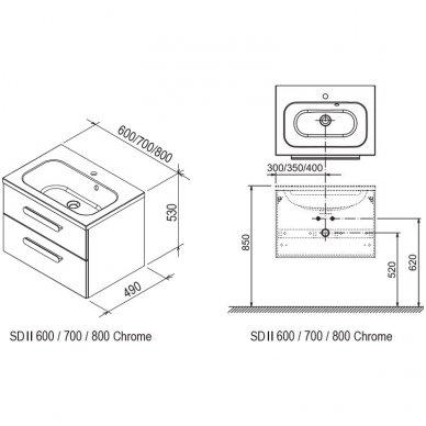 Praustuvo spintelė Ravak SD Chrome II 600/700/800 5