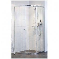 Pusapvalė dušo kabina IFO Silver skaidriu stiklu ir sidabriniu profiliu