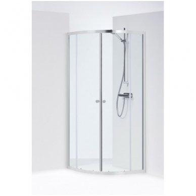 Pusapvalė dušo kabina IFO Silver skaidriu stiklu ir sidabriniu profiliu 3