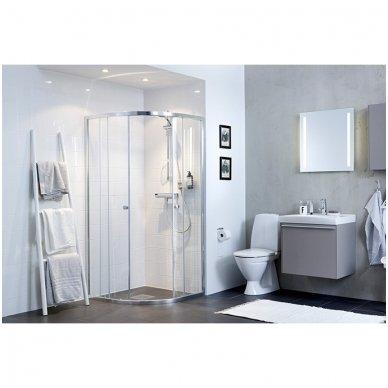 Pusapvalė dušo kabina IFO Silver skaidriu stiklu ir sidabriniu profiliu 2