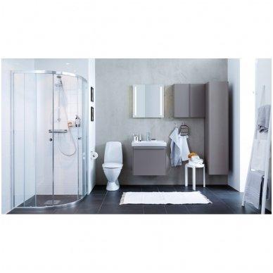 Pusapvalė dušo kabina IFO Silver skaidriu stiklu ir sidabriniu profiliu 4