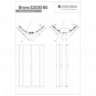 Pusapvalė dušo kabina Omnires Bronx S2030 80/S2030 90 4