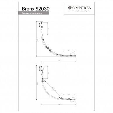 Pusapvalė dušo kabina Omnires Bronx S2030 80/S2030 90 3