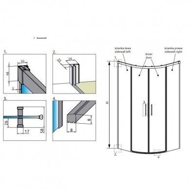 Pusapvalė dušo kabina Radaway Idea PDD (dydžių pasirinkimas) 5