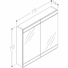 Raguvos Baldai trijų dalių komplektas su veidrodine spinete ir šviestuvu Serena Retro 75