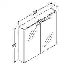 Raguvos Baldai veidrodinė spintelė su LED apšvietimu Scandic 80