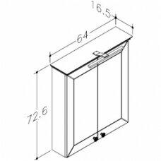 Raguvos Baldai Siesta veidrodinė spintelė 640x726 mm su LED apšvietimu