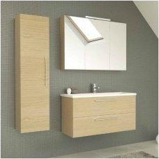 Raguvos baldai trijų dalių komplektas su veidrodine spintele ir apšvietimu Scandic 100
